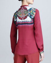 Etro Long-Sleeve Print-Yoke Shirt