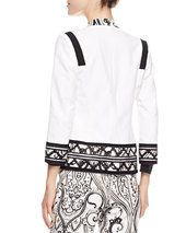 Etro Print-Trimmed Stretch Cotton Jacket, White/Black