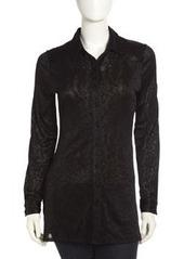 Isaac Mizrahi Textured Burnout Tunic, Black