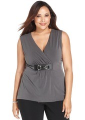 Alfani Plus Size Faux-Leather-Embellished Faux-Wrap Top