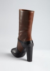 Tod's black and coffee leather buckle mid-calf platform boots