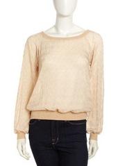 Isaac Mizrahi Sheer Knit Long-Sleeve Sweatshirt, Cream
