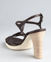Tod's chocolate leather t-strap stacked heel sandals