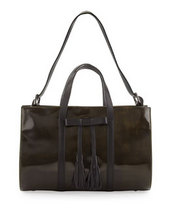 L.A.M.B. Adette Glazed Leather Satchel Bag, Black