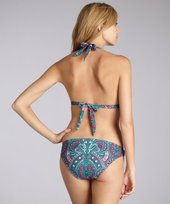 Shoshanna teal paisley stretch nylon ring detail bikini bottom