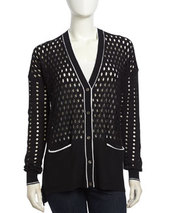 L.A.M.B. Cutout Pattern V-Neck Cardigan, Black