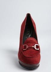 Tod's burgundy suede moc toe wooden heel loafer pumps