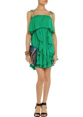 T-Bags Ruffled brushed-satin mini dress