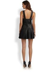 Catherine Malandrino Pleated Leather Jumper Dress