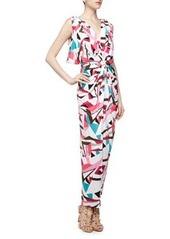 T Bags Knot-Front V Back Geometric Print Maxi Dress, Multi Color