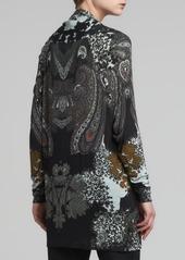 Etro Scarf-Collar Cardigan, Black/Multi