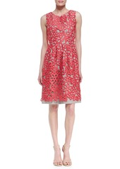 Lela Rose Floral Guipure Lace Dress, Peony Pink