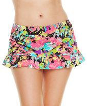Kenneth Cole Reaction Plus Size Floral-Print Ruffle Swim Skirt