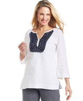 Charter Club Petite Three-Quarter-Sleeve Crochet Linen Tunic