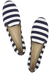 Giuseppe Zanotti Leather-trimmed striped canvas slippers