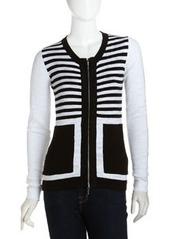 Isda & Co Striped Zip-Front Cardigan, Black/White