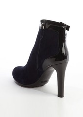 Tod's navy and black suede and patent leather anklestrap booties