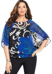 Alfani Plus Size Batwing-Sleeve Printed Top