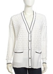 L.A.M.B. Cutout Pattern V-Neck Cardigan, White