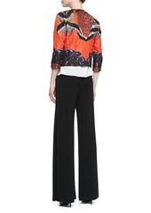 Etro Cropped Printed Cloque Jacket, Orange/Purple