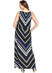 Alfani Plus Size Chevron-Print Blouson Maxi Dress