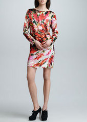 Jean Paul Gaultier Long-Sleeve Floral Satin Dress, Red