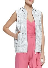 Reptile Textured Hooded Leather Vest   Reptile Textured Hooded Leather Vest
