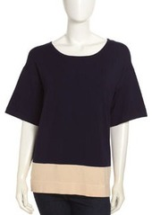 Isaac Mizrahi Colorblock Knit Scoop-Neck Top, Navy/Cream
