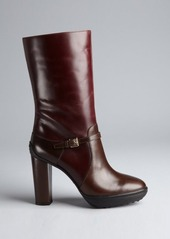 Tod's brown leather mid-calf platform boots