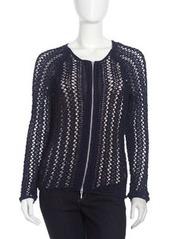 Isda & Co Crochet Zip-Front Cardigan, Marine