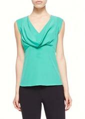Etro Cowl-Neck Silk Blouse, Green
