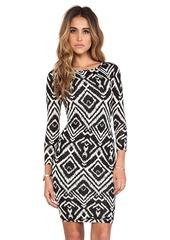T-Bags LosAngeles Long Sleeve Body Con Dress in Black & White