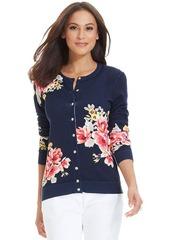 Charter Club Petite Long-Sleeve Floral-Print Cardigan