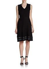 Calvin Klein Faux Leather-Trimmed Knit Dress
