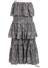 L.A.M.B. Mixed Print Tiered Chiffon Maxi Skirt, Black/Ivory