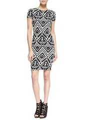 T Bags Short-Sleeve Diamond-Print Cutout Dress, Black/White