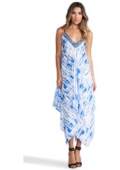 T-Bags LosAngeles Embellished Asymmetrical Maxi Dress with Tonal Hem in Blue