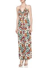 T Bags Geometric Print Braided Halter Maxi Dress