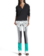 Etro Mixed-Print Flared Pants, Black/White/Green