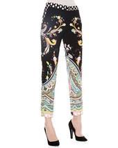 Paisley Printed Ankle Pants, Black   Paisley Printed Ankle Pants, Black