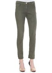 Cropped 5-Pocket Skinny Jeans, Olive   Cropped 5-Pocket Skinny Jeans, Olive