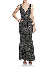 Carmen Marc Valvo Ruffle-Front Dress
