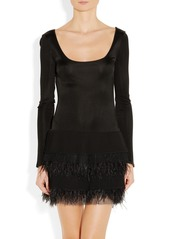 Catherine Malandrino Feather-trimmed stretch-satin jersey and chiffon dress
