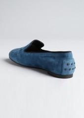 Tod's ocean blue suede pebbled heel slip-on loafers