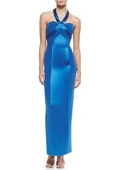 Sweetheart-Bodice Crisscross-Neck Halter Gown   Sweetheart-Bodice Crisscross-Neck Halter Gown