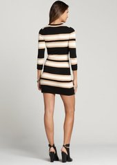 French Connection black, camel and cream real jag stripe sweater dress