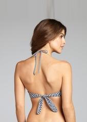 Shoshanna navy and white gingham ruffle halter bikini top