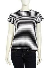 L.A.M.B. Striped Knit Short-Sleeve Tee, Black/White