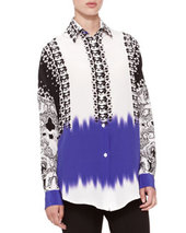 Etro Mix-Print Oversized Blouse