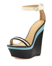 L.A.M.B. Penny Colorblock Wedge Sandal, White/Blue/Black